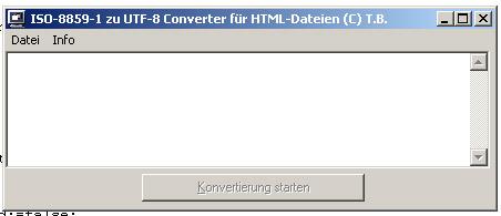Kleines Konvertierungstool erleichtert Umstellung einer Webseite auf UTF-8 konverter iso 8859-1 utf-8 zeichensatz umlaute Screenshot UTF-8 Konverter